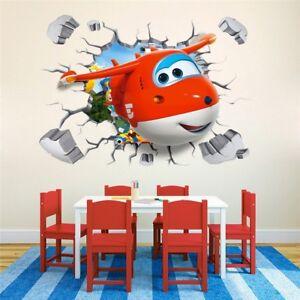 Super Wings Wandtattoo Jett 3D Wandaufkleber Flügel Kinderzimmer Sticker Cars