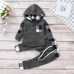 Toddler Baby Boys Girls Tracksuit Hooded Tops Pants Trouser Outfits Set Clothes