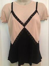 Prada Pink Black Silk Crepe Velvet Lace Layering Layer Camisole Top 2004 6 8