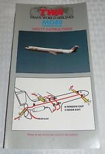 TWA MD80 SAFETY INSTRUCTIONS CARD EXCELLENT CONDITION 8/97 NOS