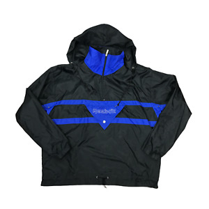Reebok Black Windbreaker Jacket Size Large Nylon Pullover Hooded Shell Raincoat
