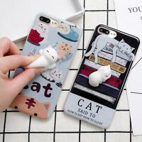 Lovely 3D Soft lazy Cat Soft Silicone Phone Case Cover For iPhone 6/6S/7 Plus #G