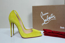 7 / 37.5 Christian Louboutin So Kate Yellow Velour Suede Pointed Toe Pump Shoes