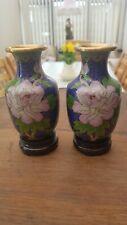 Pretty Pair Cloisonne Vases