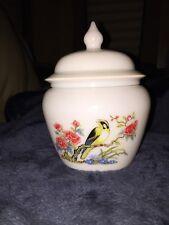 Avon Bird Design Compote Milk Glass Jar With Lid
