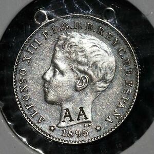 Puerto Rico 1895 20 Centavos AA Love Token Pendant Rare 900 Silver BU Coin #38