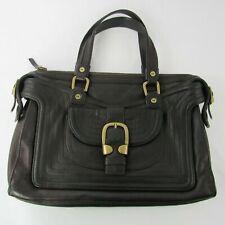 Michael Kors MK Pebbled Leather Handbag Purse Brass Hardware Heavy Stitch Brown
