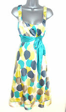 Stunning Monsoon Geometric Print Silk Day Evening Occasion Dress Size 10