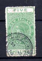 New Zealand QV 1882 5/- green Revenue Postally Used F135 WS21211