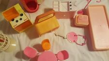Vintage 12 Pc Lot of 1977 Barbie Dream House Furniture Chair Bird Cage Shower