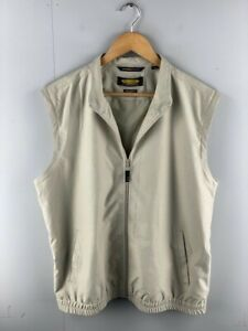 Play Dry by Greg Norman Mens Brown Sleeveless Casual Golf Zip Vest Size Medium