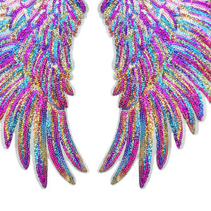 Glitter Wings Patches Sequined Sew/Iron On Clothes 3D Feather Applique Stickers