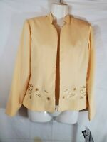 K Petite Womens Size 4P Yellow Blaze Long Sleeve Open Front Embellished Western