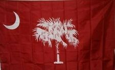 Red South Carolina Flag 3x5 ft Crescent Moon Palmetto Palm Tree Banner State SC