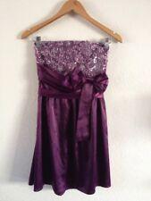 Vestido de fiesta señoras sin breteles de noche talla 6/8 púrpura Satén Lentejuelas < R15314