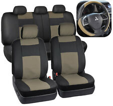Beige/Black PU Leather Car Seat Covers & TwoTone Sport Grip Steering Wheel Cover