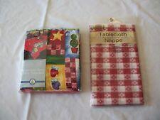 Homespun Santa Fabric Tablecloth & Checked Vinyl Table Cloth Set