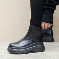 Womens Rainboots Waterproof Shoes Water Shoes Rubber Slip on Flat Ankle Boots UK