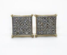 10K Yellow Gold Diamond Stud Earrings 7MM Square 0.20CT Natural Mens, Womens