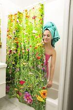Kikkerland Floral Bathroom Shower Curtain Flower Meadow Design 180cm x 200cm