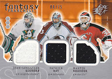 2003/04 Roy, Brodeur, and Giguere SPx Fantasy Franchise Triple Jersey  BV $80