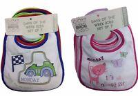 Baby Bibs 7 Days Of The Week Pack Waterproof Back