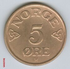 NORWAY -  1952  NORGE 5 ORE COIN MONEY