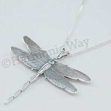 "DRAGONFLY Necklace Pendant charm Sterling Silver Large Beautiful 925 18"" .925"