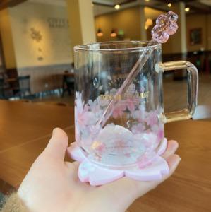 2021 Starbucks Sakura Glass W/ Coaster&Stir rod Coffee Mugs Cups Limited Edition