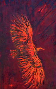 Linda Gulinson Red Alert Flying Osprey Bird Red Contemporary Oil Painting 48x24
