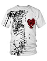 PIZOFF  Unisex 3D Druck weiß Skelett mit  Verletztem Rotem Herz  T-Shirt