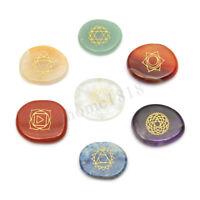 7Stk Chakra Steine Chakren Heilsteine Edelsteine mit Symbolen Stones mit Beutel