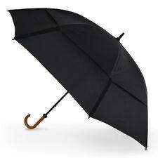 "GustBuster Doorman 62"" Super Strong Vented Hook Handle Umbrella - Black"