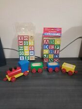 Small World Toys ABC Alphabet Numbers Wooden Blocks  + Train Cars Lot