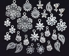 28 pieces FLOWERS CHARM SET, size 14mm to 30mm, Antiqued Tibetan Silver