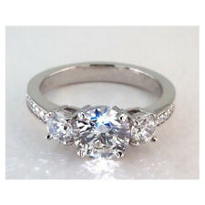 2.00 carats vintage 3 pierres COUPE RONDE REAL Diamond engagement ring 18k
