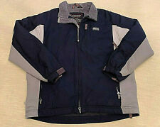 Abercrombie Fitch Windbreaker XL Fleece Lined A 92 PVC Ski Jacket Cell Blue Tan