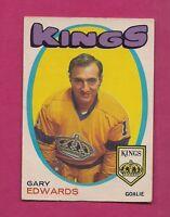 1971-72 OPC # 155 KINGS GARY EDWARDS  GOALIE  ROOKIE VG CARD (INV#2111)