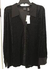 INC Women's Black Velvet Velour Feel Sheer Collar Button-Down Top Shirt Size 1X