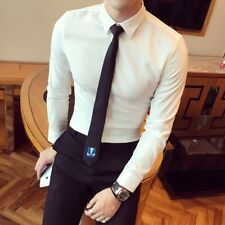 Men's Fall Casual Shirts Long Sleeve Button Front Slim Fit T-shirt Formal Tops