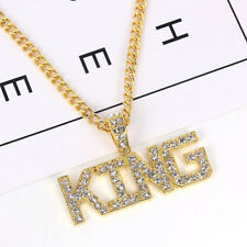 New Hot Hip Hop Gold Plated Rhinestone KING Pendant Men's Long Chain Necklace