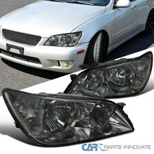01-05 Lexus IS300 Chrome Headlights Replacement Head Lamps Smoke Set Left+Right