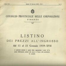 Listino dei Prezzi all'Ingrosso dal 15 al 21 Gennaio 1939