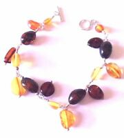 Sterling Silver 925 Baltic Amber Dangle Chain Link Toggle Clasp Tennis Bracelet