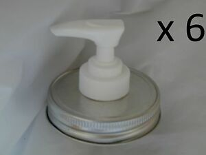 6 Mason Jar Soap or Lotion Dispenser lid - Several Colors, 6 dispensers in All!