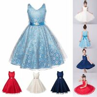 Girls Lace Flower Sleeveless Princess Formal Party Wedding Bridesmaid Prom Dress