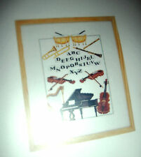 Vintage DMC Counted cross stitch kit Music Instruments Sampler 12x10 inches NEW