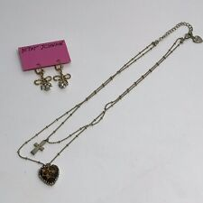Betsey Johnson Necklace Leopard Heart Cross Charms Gold Bow Rhinestone Earings