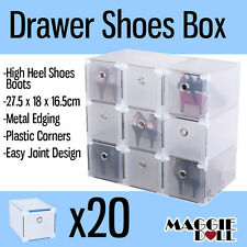 20x NEW Clear Plastic Drawer High Heel Boot Shoes Storage Box Metal Edge Large