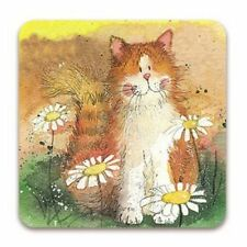 Cat and Daisies Corked Backed Coaster, Alex Clark, Cats, Pets, Fun Gifts C27
